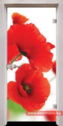 Стъклена врата модел Print 13-8 - Перла